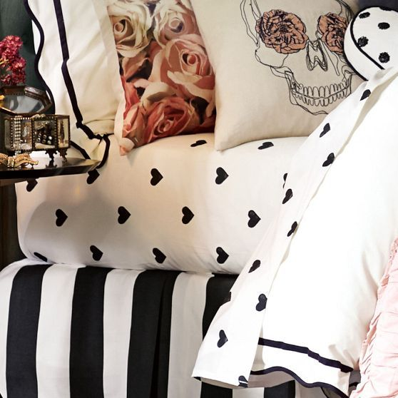 The Emily + Meritt heart sheet set. need, love the black and white with hints of pint, NEED