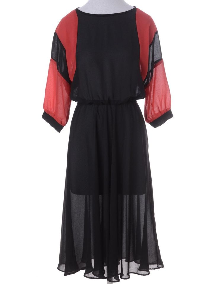 Vintage Day Dress Black With A Boat Neck