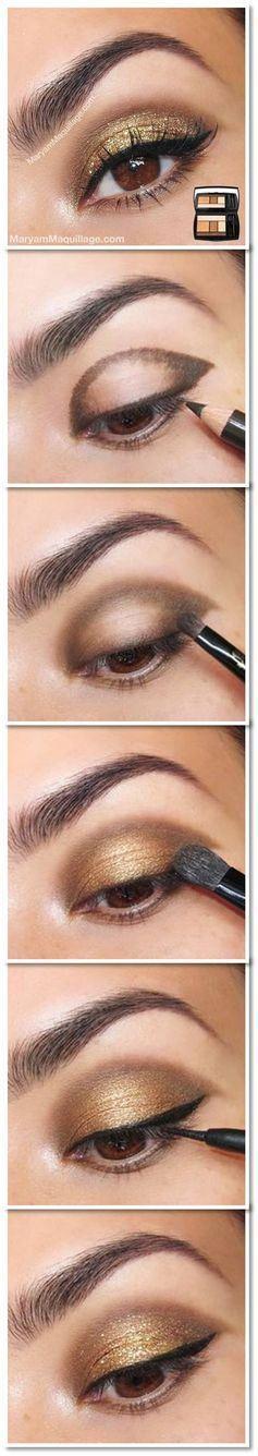 Maquillaje de ojo para fiesta en tono dorado.