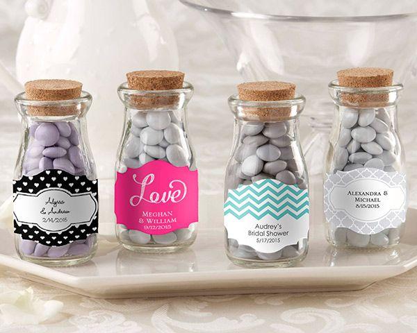 Personalized Vintage Wedding Favor Glass Bottles (Set of 12) (Kate Aspen 27074NA) | Buy at Wedding Favors Unlimited (http://www.weddingfavorsunlimited.com/personalized_vintage_milk_jar_set_of_12.html).