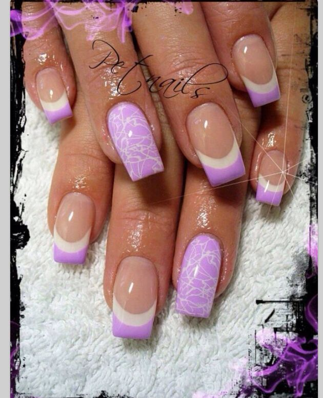Lilac White French Tipped Nails With A Standout Flower Design On The Ring Finger