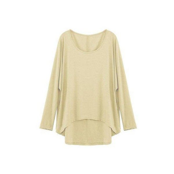 Yoins Beige Loose Women Casual Blouse ($15) ❤ liked on Polyvore featuring tops, blouses, yoins, long sleeve batwing top, long length tops, loose fit blouse, loose blouse and crepe top
