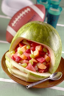 A watermelon football helmetFootball Seasons, Football Helmets, Fruit Bowls, Fruit Salads, Super Bowls, Football Parties, Parties Ideas, Watermelon, Parties Food
