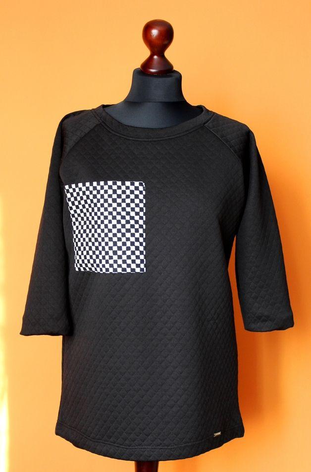 Bluza Pikowana Czarna Szachownica Kratka M New - RoomStyle - Bluzy