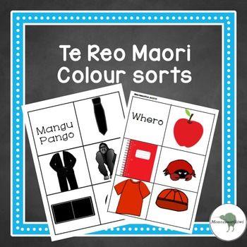 Maori for New Zealand - also available in English and SpanishA range of objects for preschoolers to sort and group together by colour. 5 objects in each color. Colors : Red, White, Yellow, Green, Blue, Black Ready to use1) Print off 2) Laminate3) Cut4) READYChild sorts cards into appropriate color group.