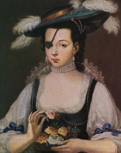 Doña Ana de Mendoza (1540 - 1592) y de la Cerda, Princess of Eboli, Duchess of Pastrana. She was considered one of Spain's greatest beauties, despite having lost an eye in a mock duel with a page when she was young.