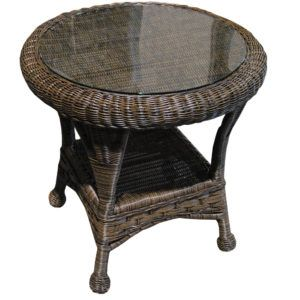 Round Outdoor Wicker Side Table