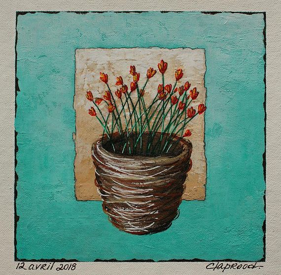 Bird's nest painting with red flowers, nest image with wild flowers, turquoise art, original 6x6 acrylic painting within an 11x14 inch mount
