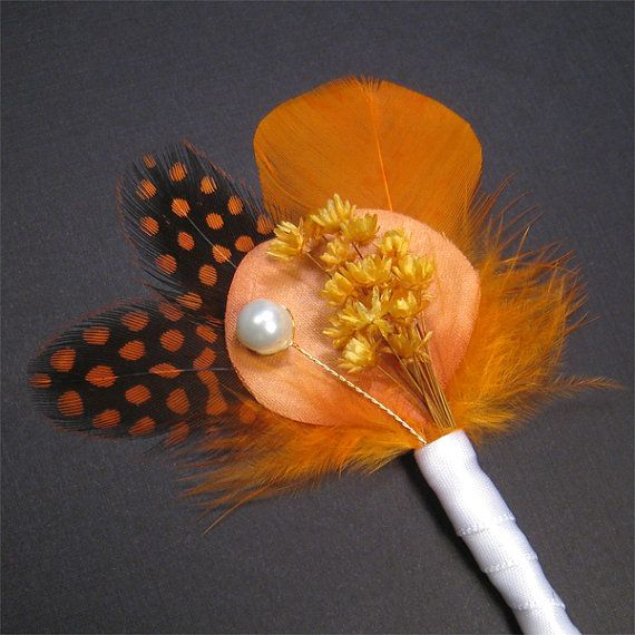 Orange boutonniere autumn boutineer fall with by Rationale on Etsy, $12.00