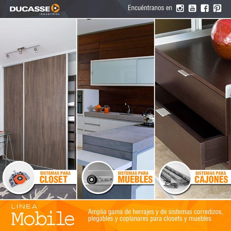 Conoce nuestra linea Mobile, amplia gama de herrajes y de sistemas corredizos, plegables y coplanares para closets y muebles. mas información en www.ducasseindustrial.com #ducasse #muebles #furniture #ducasseindustrial #mobile