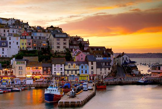 Brixham Harbour, at the southern end of Torbay in Devon, south-west England