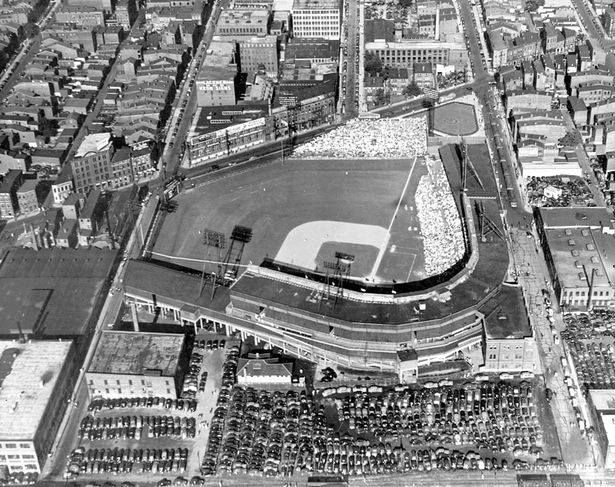 Crosley Field, home of Cincinnati Reds, in 1938, shown in lovely aerial view. What a great ballpark.