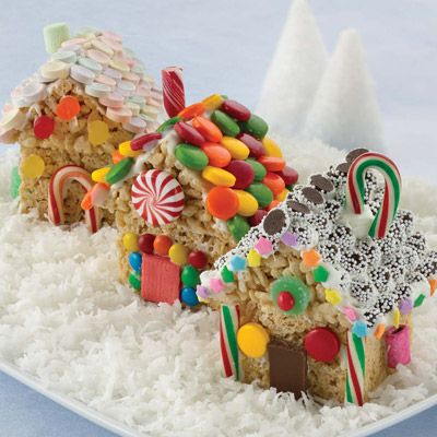 Now why didn't I think of this?   Rice crispy treat houses -- so much easier to decorate than graham crackers! easy for the kids