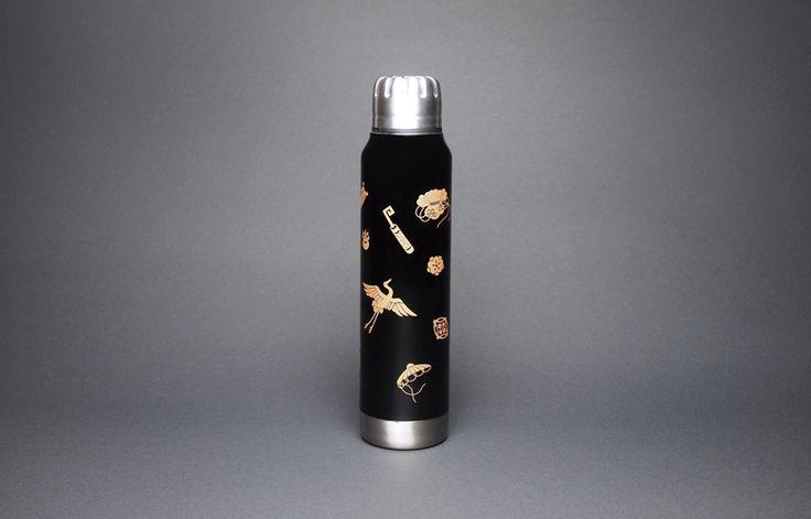 土直漆器×thermo mug URUSHI UMBRELLA BOTTLE TAKARADUKUSHI KURO(漆アンブレラボトル 宝尽くし 黒)