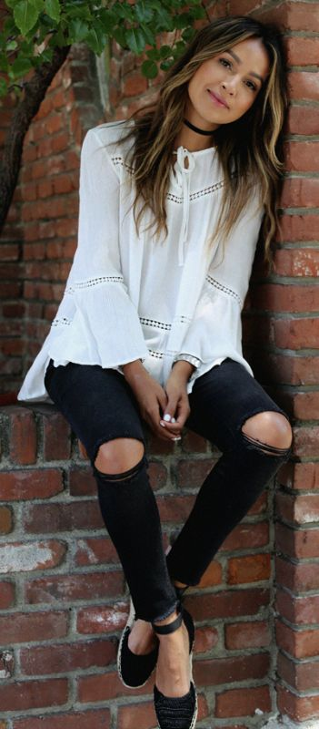 Espadrilles + summer wardobe must-have + Julie Sarinana + black and white pair + simple distressed black jeans + white neck tie blouse + cute and summery spring style.   Top/Jeans: Design Lab Lord & Taylor, Shoes: Karl Lagerfield.