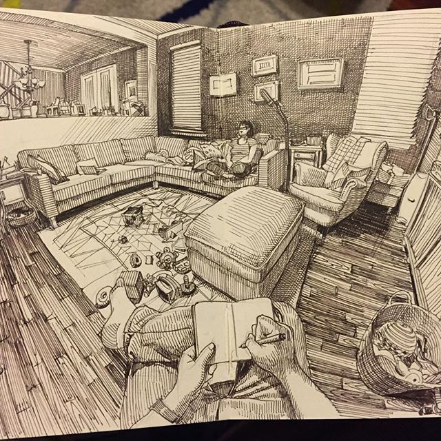 Paul Heaston, living room sketch. Went a little crazy with this one. Brown Micron in pocket Moleskine sketchbook.