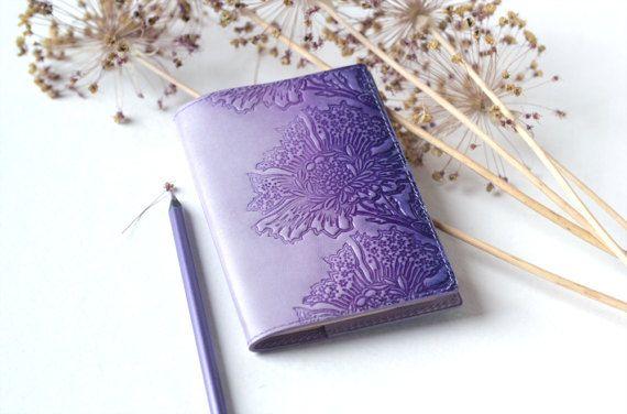 Leather Passport Cover Lavender Lilac Passport Holder Hand