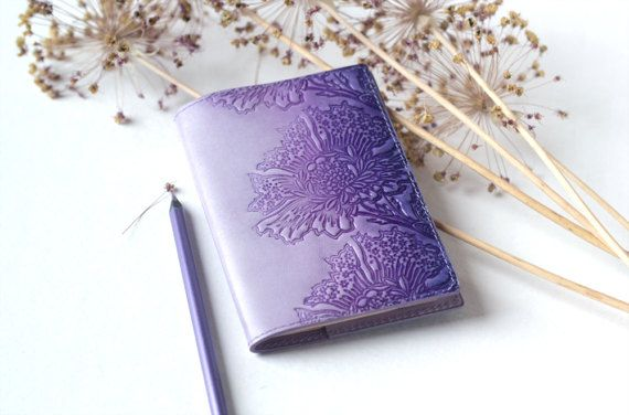 Leather Passport Cover Lavender Lilac Passport Holder Hand