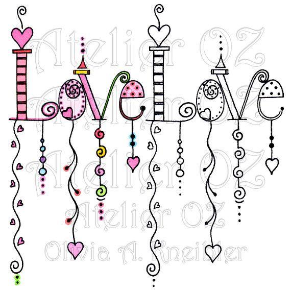 SALE Love Dangles Digital Stamp & Painted Image by atelieroz