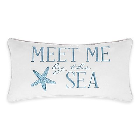 Natural Shells Meet Me Oblong Throw Pillow In Blue White