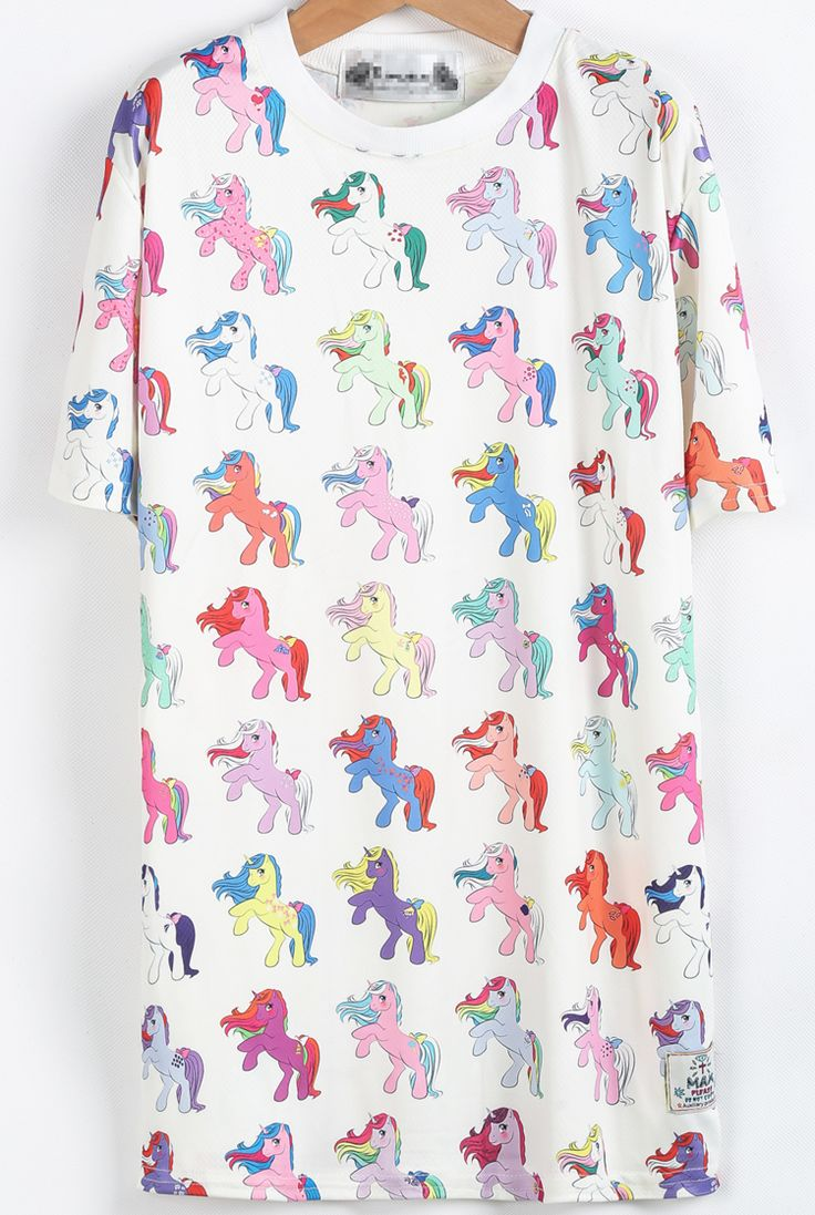 White Short Sleeve Horses Print T-Shirt - Sheinside.com