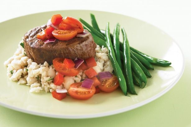 Succulent tender steak is a great choice with mashed cannelini beans and steamed green beans.
