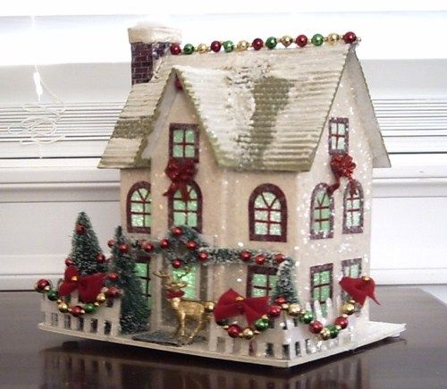 VINTAGE STYLE PUTZ CHRISTMAS VILLAGE HOUSE GLITTER TREES WREATH GARLAND REINDEER | eBay