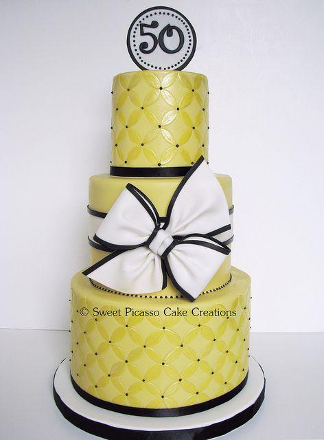 Yellow and black cake.