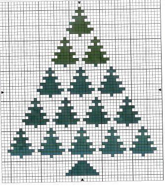christmas tree sapin de noel, natal punto de cruz point de croix