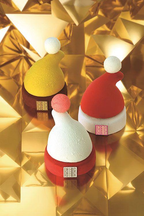 フォションが贈るクリスマススイーツ - 赤、黄、白のサンタの帽子がムースケーキになって登場 | ニュース - ファッションプレス