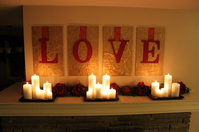 Mantel LOVE and candles