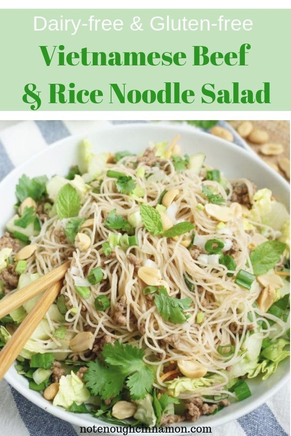 Vietnamese Beef And Rice Noodle Salad Gluten Free Dairy Free Recipe Rice Noodle Salad Beef And Rice Dairy Free Dinner