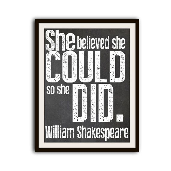 Shakespeare Inspirational Typography Word Art Quote Print