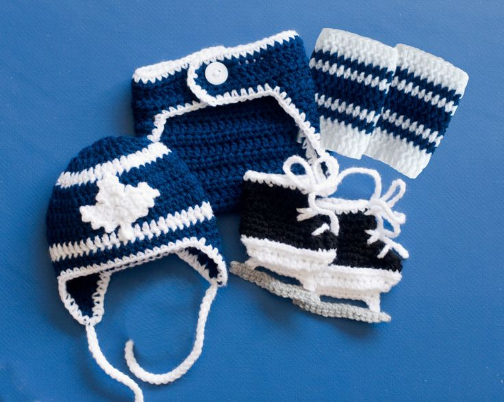 BABY HOCKEY Outfit Maple Leaf Hockey, Crochet Hockey Baby, Blue White Hockey, Knit Hockey Skates, Knit Hockey Baby Hockey, Baby Boys Hockey by Grandmabilt on Etsy