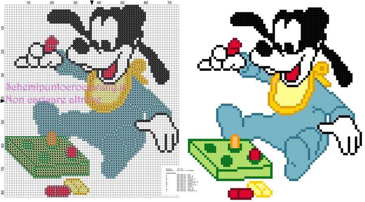 Baby Pippo con giochini colorati schema punto croce gratis
