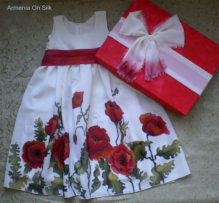 """Купить Детское Платье """"Аллочка"""" - маки, платье, детское, красный, белый, зеленый, красные цветы"""