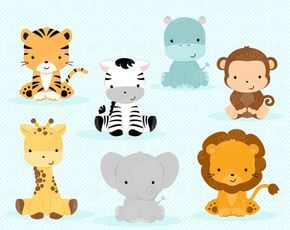 BABY JUNGLE ANIMALS - Digital Clipart Set, Animals Clipart, Zoo Clipart, Jungle Clipart, Baby Shower Clipart