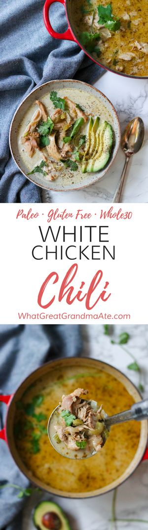 Whole30 Paleo White Chicken Chili on the stovetop: A healthy and comforting gluten free, dairy free soup! via @whatggmaate