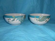 4pc 222 FIFTH Eliza Teal Dinnerware Bowls Gold Accents