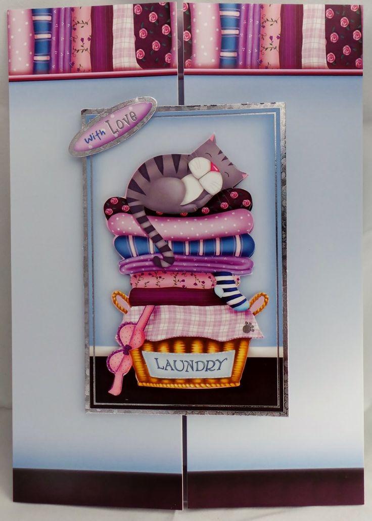 Cute kitten, on laundry, gatefold, greeting card