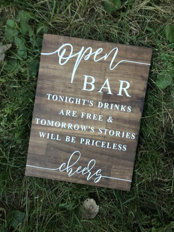 Open Bar Wedding Sign, Wedding Sign, Wooden Wedding Sign, Open Bar Sign