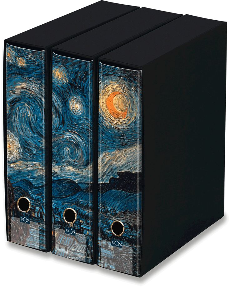 KAOS Lever Arch Files 2ring Binders with slipcase, Spine 8 cm, 3 pcs Set  - STARRY NIGHT, VINCENT VAN GOGH  - 3 pcs Set Dimensions: 26.8x35x29 cm