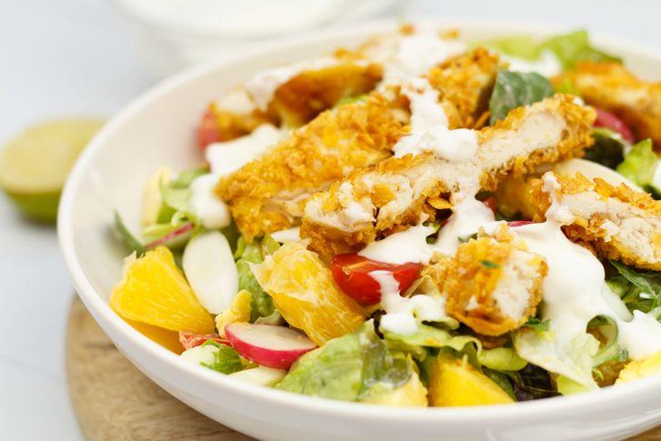 Ongekend Salade krokante kip met yoghurtdressing | Recept | Krokante kip PX-64