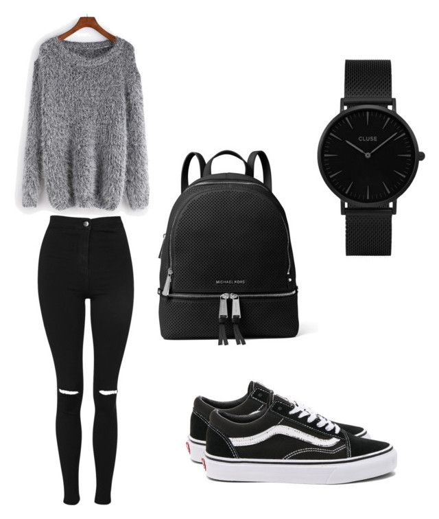 """""""Black outfit"""" by greta-di-giovanni on Polyvore featuring moda, Topshop, WithChic, Vans, MICHAEL Michael Kors e CLUSE"""