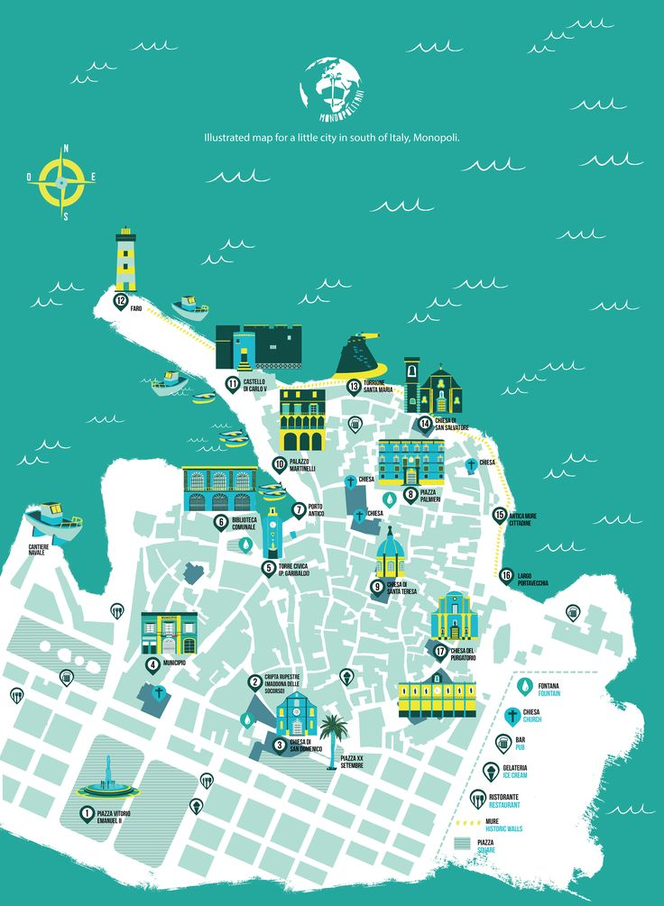 This is a free guide map for the Association Mondopolitani from Puglia, Italy. Monopoli map