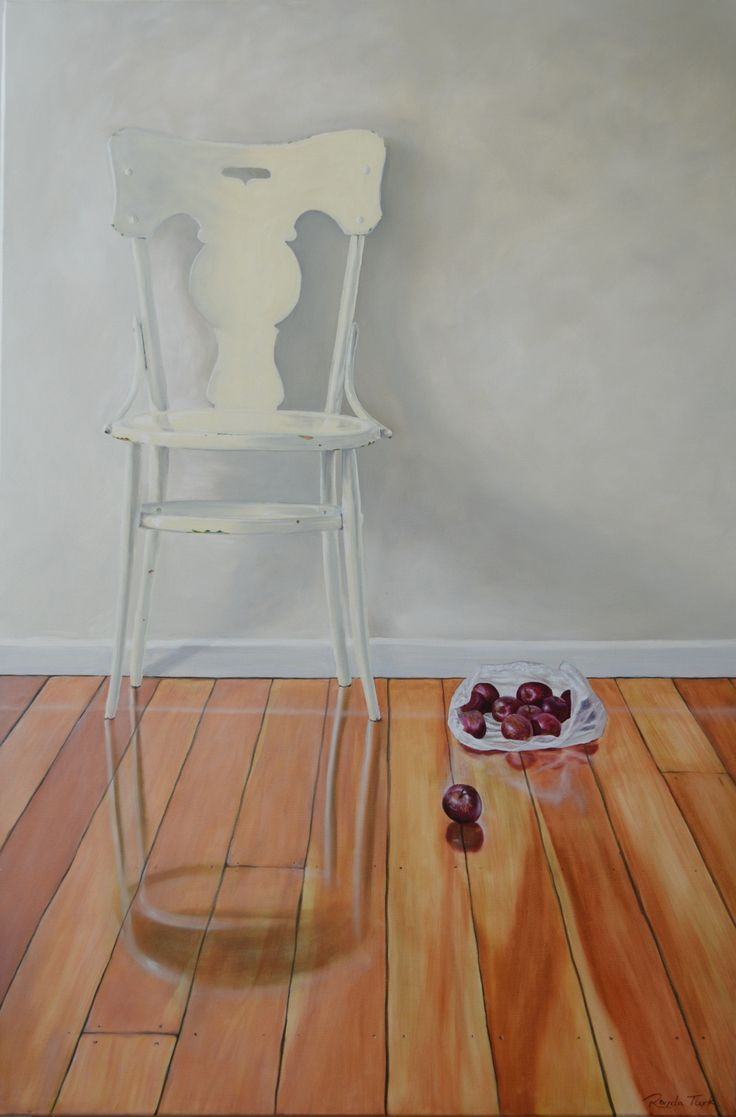 Oil on canvas,  915 mm x 610 mm. I picked this chair up at a garage sale for $12. Homage to the tree, for giving us timber for furniture and flooring, and a bonus, yummy fruit! #stillife #art #oilpainting