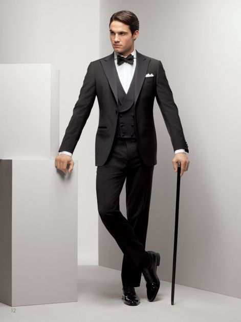 A dinner suit with a double-breasted waistcoat - the first I've seen in a long time!