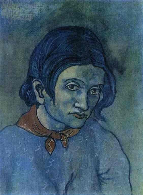 Natuurlijk werd blauw nogsteeds toegepast op zijn psygologische eigenschappen. Dit werd vooral terug gebracht in de blauwe tijd van Picasso. Hierop wilde Picasso het menselijke leed, somberheid, armoede en kouw in naar voren laten komen.