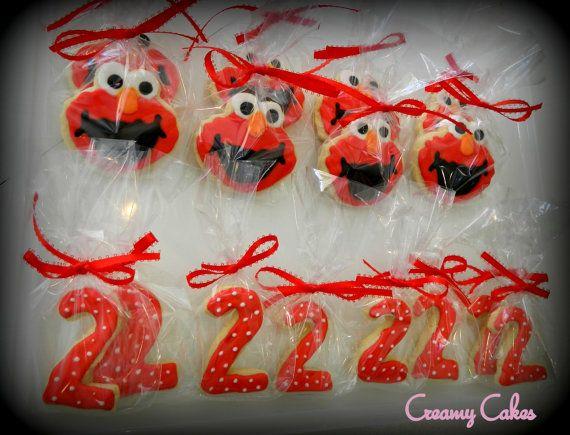 SALE-Elmo Sugar Cookie Favors 12ct-Elmo Party Favors-Elmo Birthday-Elmo Party-Party Favors on Etsy, $22.50