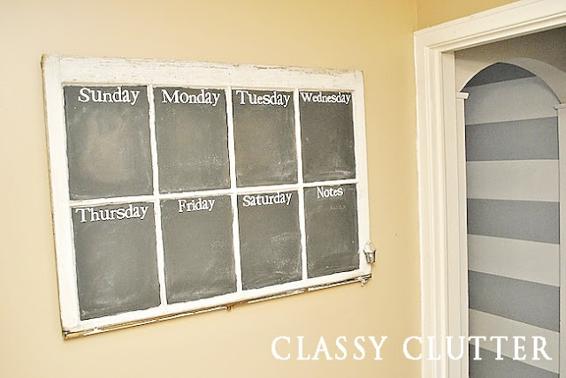Repurposed window into a menu board using chalkboard paint. Every kitchen needs